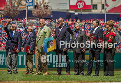 "27 April 2014: The newest members of the Washington DC Sports Hall of Fame are honored at Nationals Park in Washington, DC. Pictured (left to right) are Theodore N. Lerner - Managing Principal Owner, Washington Nationals, George Solomon - Former Sports Editor, The Washington Post, Charles ""Lefty"" Driesell - Former Men's Basketball Head Coach, University of Maryland, Olaf ""Olie"" Kolzig - Former Goalie, Washington Capitals, Johnny Holliday - Sports Broadcaster, Voice of Maryland football & basketball and Nats Xtra television host on MASN, Michael Weiss - Olympic and Professional Figure Skater, and Chris Weller - Former Women's Head Basketball Coach, University of Maryland. The Padres later defeated the Nationals 4-2 to to split their 4-game series. Mandatory Credit: Ed Wolfstein Photo *** RAW (NEF) Image File Available ***"