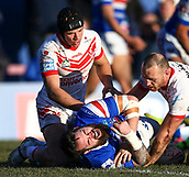10th February 2019, Belle Vue, Wakefield, England; Betfred Super League rugby, Wakefield Trinity versus St Helens; Jonny Lomax  and James Roby of St Helens show concern for Craig Huby of Wakefield Trinity as he dislocates his shoulder at the end of the first half