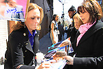 General Hospital's Genie Francis signs for fans after taping Katie Couric's Talk Show on April 2, 2013 in New York City, New York. Fans came to the show and were outside the studio to greet the actors as they left. (Photo by Sue Coflin/Max Photos)