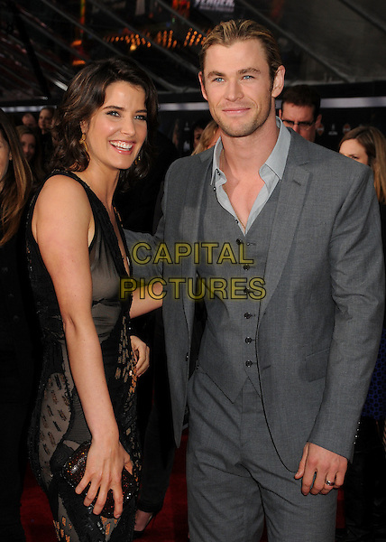 "Cobie Smulders & Chris Hemsworth.""Marvel's The Avengers"" World Premiere held at the El Capitan Theatre, Hollywood, California, USA..April 11th, 2012.half length waistcoat suit black dress grey gray shirt stubble facial hair side.CAP/ADM/BP.©Byron Purvis/AdMedia/Capital Pictures."