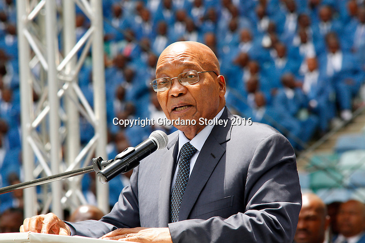 DURBAN - 4 December 2016 - South Africa's President Jacob Zuma speaks at a thanksgiving service held by Twelve Apostles Church in Christ  in Durban's Moses Mabhida Stadium. Professor Caesar Nongqunga, the leader of the 4.5 million strong church later urged church members to deposit their savings intoo the same bank that had earlier in the year given Zuma a loan to repay the government for the controversial non-security upgrades to his personal residence in Nkandla. Picture: Allied Picture Press/APP