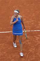 Victoria Azarenka (BLR) (9) against Ana Ivanovic (SRB) (8) in the fourth round of the Women's Singles. Azarenka beat Ivanovic 6-2 6-3..Tennis - French Open - Day 8 - Sun 31st May 2009 - Roland Garros - Paris - France..Frey Images, Barry House, 20-22 Worple Road, London, SW19 4DH.Tel - +44 20 8947 0100.Cell - +44 7843 383 012
