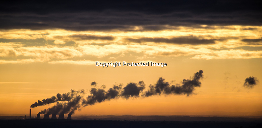 05/02/18<br /> <br /> As Britain prepares for what is expected to be the coldest week of the winter when energy consumption is also likely to peak, stream bellows from the cooling towers of the Ratcliffe-on-Soar Power Station - a coal-fired power station owned and operated by Uniper in Nottinghamshire. The photo was taken from 20 miles away near Kirk Ireton in the Derbyshire Peak District.<br /> <br /> All Rights Reserved: F Stop Press Ltd. +44(0)1335 344240  www.fstoppress.com.