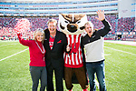 Sponsor Jack Links with mascot Bucky Badger during an NCAA Big Ten Conference football game against the Maryland Terrapins Saturday, October 21, 2017, in Madison, Wis. The Badgers won 38-13. (Photo by David Stluka)