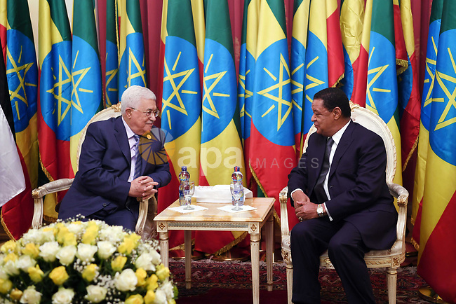 Palestinian President Mahmoud Abbas meets with Ethiopian President, Mulatu Teshome, on the sidelines of the 29th Ordinary Session of the Assembly of the Heads of State and the Governments, in Addis Ababa, Ethiopia July 3, 2017. Photo by Thaer Ganaim