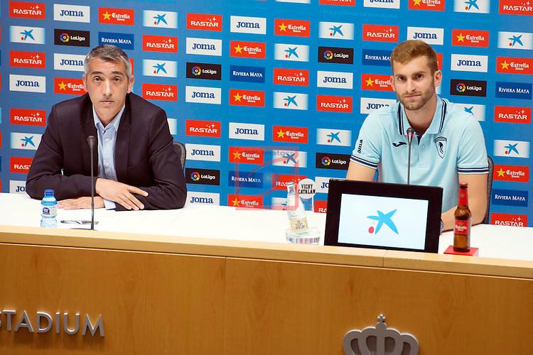 League BBVA 2016/2017.<br /> Leo Baptistao presented as new player of RCD Espanyol.<br /> Ramon Robert &amp; Leo Baptistao.