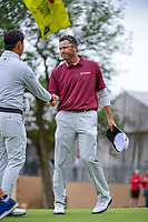 Ryan Palmer (USA) shakes hands with Si Woo Kim (KOR) after completing their round 3 of the Valero Texas Open, AT&amp;T Oaks Course, TPC San Antonio, San Antonio, Texas, USA. 4/22/2017.<br /> Picture: Golffile | Ken Murray<br /> <br /> <br /> All photo usage must carry mandatory copyright credit (&copy; Golffile | Ken Murray)