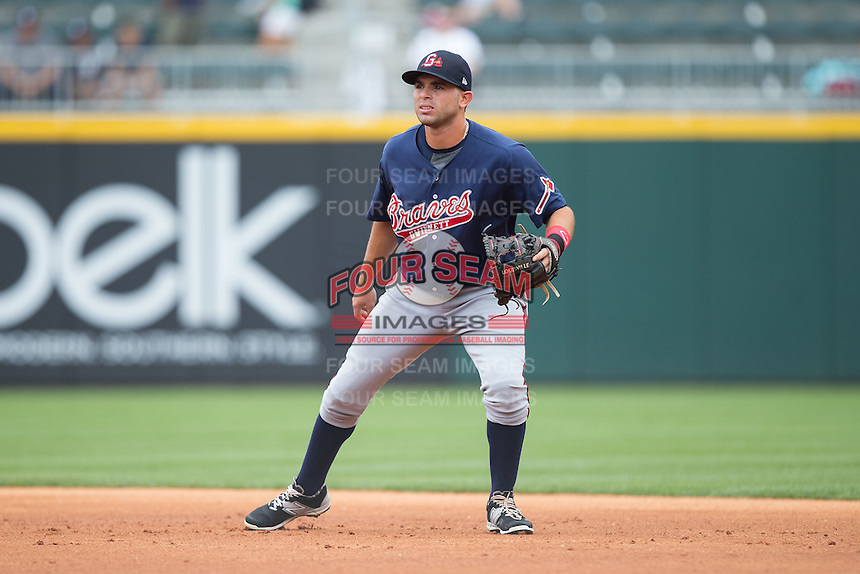 Gwinnett Braves second baseman Jose Peraza (1) on defense against the Charlotte Knights at BB&T BallPark on July 3, 2015 in Charlotte, North Carolina.  The Braves defeated the Knights 11-4 in game one of a day-night double header.  (Brian Westerholt/Four Seam Images)
