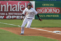 Wisconsin Timber Rattlers outfielder Brandon Diaz (5) rounds third base during a Midwest League game against the Beloit Snappers on May 30th, 2015 at Fox Cities Stadium in Appleton, Wisconsin. Wisconsin defeated Beloit 5-3 in the completion of a game originally started on May 29th before being suspended by rain with the score tied 3-3 in the sixth inning. (Brad Krause/Four Seam Images)