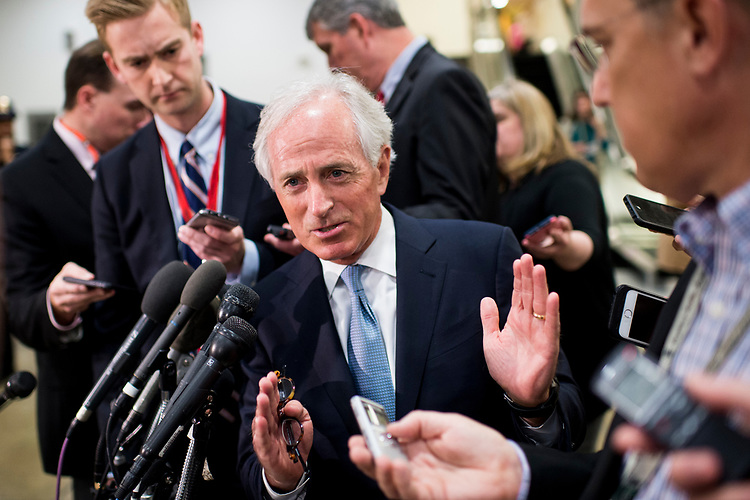 UNITED STATES - APRIL 7: Sen. Bob Corker, R-Tenn., speaks with reporters before the start of a briefing on Syria for Senators in the Capitol on Friday, April 7, 2017. (Photo By Bill Clark/CQ Roll Call)