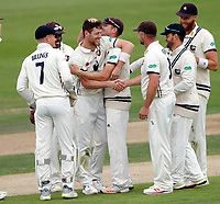 Matt Henry (C) of Kent is mobbed after taking his fifth wicket (Nathan Buck) during the County Championship Division Two game between Kent and Northants at the St Lawrence ground, Canterbury, on Sept 4, 2018.