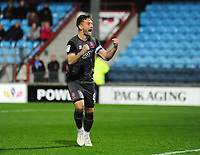 Lincoln City's Lee Frecklington celebrates scoring his penalty in the penalty shoot out<br /> <br /> Photographer Andrew Vaughan/CameraSport<br /> <br /> The EFL Checkatrade Trophy Northern Group H - Scunthorpe United v Lincoln City - Tuesday 9th October 2018 - Glanford Park - Scunthorpe<br />  <br /> World Copyright &copy; 2018 CameraSport. All rights reserved. 43 Linden Ave. Countesthorpe. Leicester. England. LE8 5PG - Tel: +44 (0) 116 277 4147 - admin@camerasport.com - www.camerasport.com