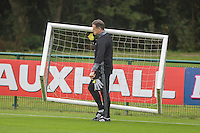 New Wales goalkeeping coach Tony Roberts during the Wales open Training session ahead of the opening FIFA World Cup 2018 Qualification match against Moldova at The Vale Resort, Cardiff, Wales on 31 August 2016. Photo by Mark  Hawkins / PRiME Media Images.