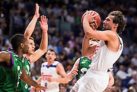 Real Madrid's player Sergio Llull and Unicaja Malaga's player Oliver Lafayette during match of Liga Endesa at Barclaycard Center in Madrid. September 30, Spain. 2016. (ALTERPHOTOS/BorjaB.Hojas) /NORTEPHOTO