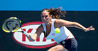 ROBERTA VINCI (ITA) against JIE ZHENG (CHN) in the second round of the Women's Singles. Jie Zheng beat Roberta Vinci 6-4 6-2..19/01/2012, 19th January 2012, 19.01.2012..The Australian Open, Melbourne Park, Melbourne,Victoria, Australia.@AMN IMAGES, Frey, Advantage Media Network, 30, Cleveland Street, London, W1T 4JD .Tel - +44 208 947 0100..email - mfrey@advantagemedianet.com..www.amnimages.photoshelter.com.