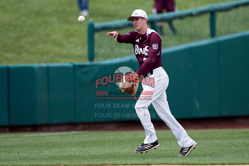 Travis McComack #31 of the Missouri State Bears throws the ball to third base during a game against the Wichita State Shockers at Hammons Field on May 5, 2013 in Springfield, Missouri. (David Welker/Four Seam Images)