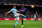 Ousmane Dembele, O Dembele, of FC Barcelona (R) battles for the ball with Nestor Alejandro Araujo Razo of RC Celta de Vigo during the La Liga 2018-19 match between FC Barcelona and RC Celta de Vigo at Camp Nou on 22 December 2018 in Barcelona, Spain. Photo by Vicens Gimenez / Power Sport Images