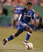 Diego Gutierrez dribbles the ball during.Kansas City's 1-0 victory over Chicago to win the US Open Cup, at Arrowhead Stadium, in Kansas City, MO, Wednesday, Sept., 22, 2004.