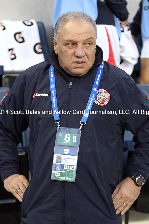 26 October 2014: Costa Rica head coach Garabet Averdissian (URU). The United States Women's National Team played the Costa Rica Women's National Team at PPL Park in Chester, Pennsylvania in the 2014 CONCACAF Women's Championship championship game. By advancing to the final, both teams have qualified for next year's Women's World Cup in Canada. The United States won the game 6-0.