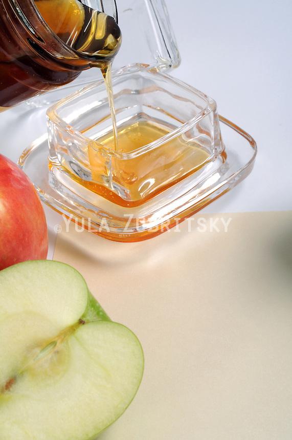 Rosh Hashana -  Honey and apples<br /> Copy space