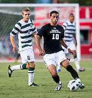 The number 5 ranked Charlotte 49ers play the University of South Carolina Gamecocks at Transamerica field in Charlotte.  Charlotte won 3-2 in the second overtime.  Bradlee Baladez (10)