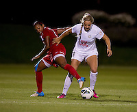 Courtney Jones (8) of FC Kansas City fights for the ball with Candace Chapman (5) of the Washington Spirit at the Maryland SoccerPlex in Boyds, MD. The Washington Spirit tied FC Kansas City, 1-1.