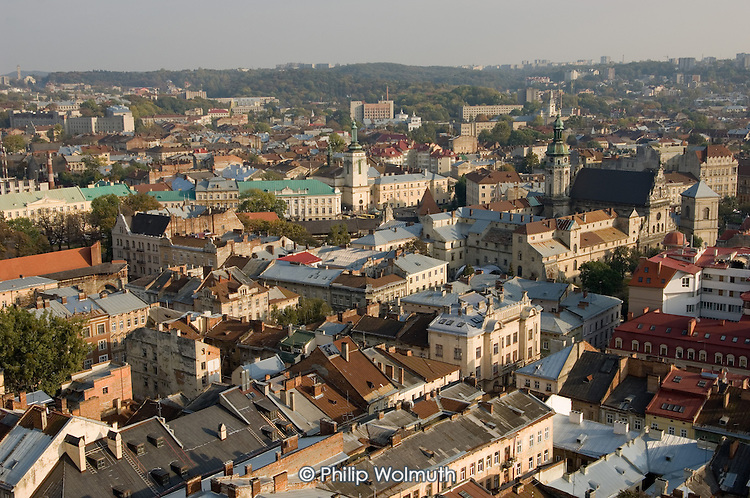 Aerial view of Lviv, looking east from the centre.