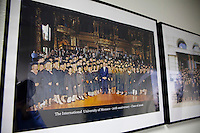 Class graduation photo of 2006 (Prince Albert II in the centre) on the wall of a corridor in the International University of Monaco, Fontvieille, Monaco, 19 April 2013