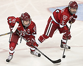 Jillian Dempsey (Harvard - 14), Kelsey Romatoski (Harvard - 5) - The Boston College Eagles defeated the visiting Harvard University Crimson 3-1 in their NCAA quarterfinal matchup on Saturday, March 16, 2013, at Kelley Rink in Conte Forum in Chestnut Hill, Massachusetts.