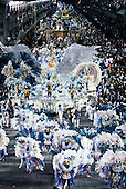 Rio de Janeiro, Brazil. Carnival, Samba school; overview of sambadrome in blue white and gold with the Portela bird.