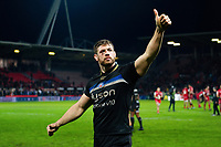 Dave Attwood of Bath Rugby acknowledges the travelling support after the match. Heineken Champions Cup match, between Stade Toulousain and Bath Rugby on January 20, 2019 at the Stade Ernest Wallon in Toulouse, France. Photo by: Patrick Khachfe / Onside Images