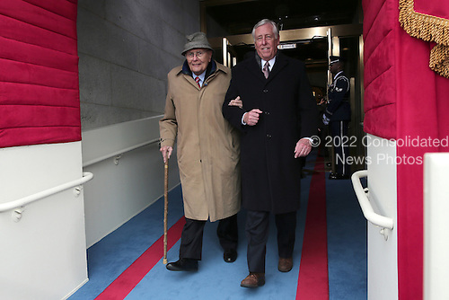 United States House Minority Whip Steny Hoyer (Democrat of Maryland), right, escorts  U.S. Representative John Dingel, (Democrat of Michigan), left, during the presidential inauguration on the West Front of the U.S. Capitol January 21, 2013 in Washington, DC.   Barack Obama was re-elected for a second term as President of the United States.  .Credit: Win McNamee / Pool via CNP
