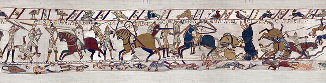 11th Century Medieval Bayeux Tapestry - Scene 53 - The battle of Hastings rages on. Battle of Hastings 1066