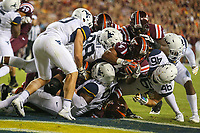 Landover, MD - September 3, 2017: Virginia Tech Hokies running back Travon McMillian (34) scores a touchdown during game between Virginia Tech and WVA at  FedEx Field in Landover, MD.  (Photo by Elliott Brown/Media Images International)