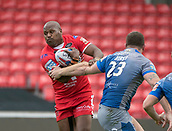 June 4th 2017, AJ Bell Stadium, Salford, Greater Manchester, England;  Rugby Super League Salford Red Devils versus Wakefield Trinity; Rob Lui of Salford tries a run on the Wakefield line