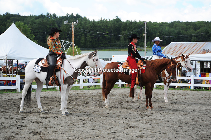 Horses and riders in competition at Cheshire Fair in Swanzey, New Hampshire USA