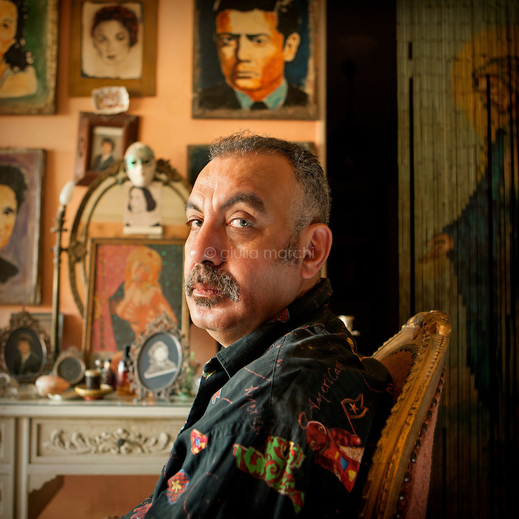 Egypt / Cairo / 2.4.2013 / Khaled El Hagar, Egyptian film director, poses in his house in Giza. © Giulia Marchi