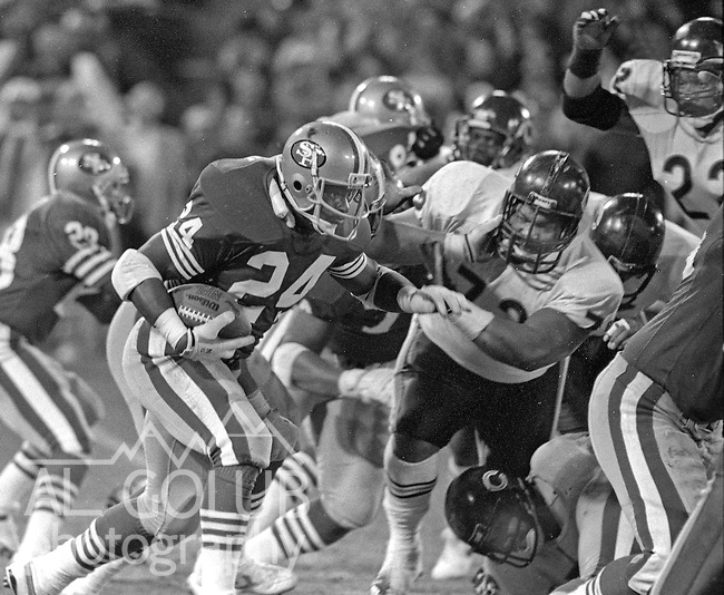 San Francisco 49ers vs Chicago Bears at Candlestick Park Monday, December 14, 1987..49ers Beat Bears 41-0.San Francisco 49ers Running Back Harry Sydney (24)..
