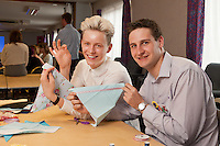 Staff experienced an unsual induction training day for the soon to be opened Derby Hobbycraft store. Pictured are Oliver Stickland and Mark Dawson.