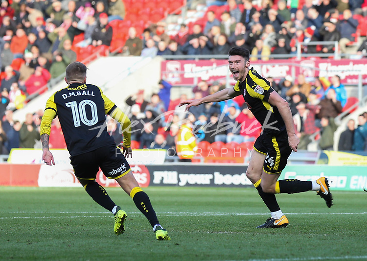 doncaster rovers vs Rotherham United, Keepmoat Stadium Doncaster, Saturday 11th November 2017<br /> <br /> Kieffer Moore Celebrates 96th Minute Equaliser for Rotherham.<br /> <br /> Picture - Alex Roebuck / www.alexroebuck.co.uk