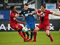 20.01.2018, Wirsol Rhein-Neckar-Arena, Sinsheim, GER, 1.FBL, TSG 1899 Hoffenheim vs Bayer 04 Leverkusen, <br />Wendell (Leverkusen), Dennis Geiger (Hoffenheim), Julian Baumgartlinger (Leverkusen) *** Local Caption *** © pixathlon<br /> Contact: +49-40-22 63 02 60 , info@pixathlon.de