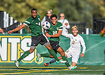 24 September 2016: Dartmouth College Big Green Defender/Midfielder Jonathan Nierenberg, a Junior from Sand Point, NY, and Midfielder Alexander Marsh, a Senior from Plantation, FL, battle University of Vermont Catamount Forward/Midfielder Stefan Lamanna, a Senior from Pickering, Ontario, at Virtue Field in Burlington, Vermont. The teams played to an overtime 1-1 tie in front of an Alumni Weekend crowd of 1,710 fans. Mandatory Credit: Ed Wolfstein Photo *** RAW (NEF) Image File Available ***