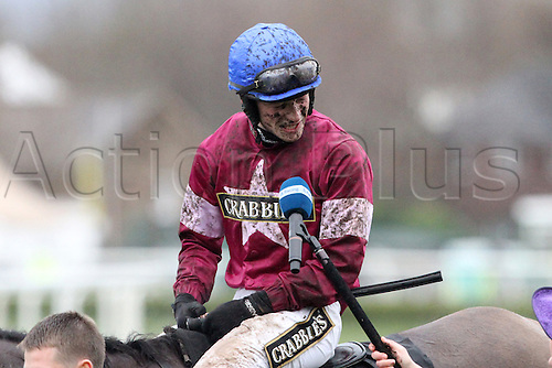 09.04.2016. Aintree, Liverpool, England. Crabbies Grand National Festival Day 3. David Mullins is interviewed immediately after his win at the grand National race on Rule the World.