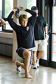 James van Riemsdyk - US players warmed up on the concourse of the 1980 Rink on Monday, August 4, 2008, in Lake Placid, New York.