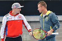 October 24, 2018: MotoGP rider Jack Miller and the Australian David Cup captain Lleyton Hewitt plays tennis with fellow rider Andrea Dovizioso at Melbourne Park before the 2018 MotoGP of Australia to be held at Phillip Island Grand Prix Circuit, Victoria, Australia. Photo Sydney Low