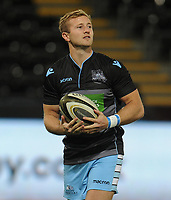Glasgow Warriors' Brandon Thomson during the pre match warm up<br /> <br /> Photographer Kevin Barnes/CameraSport<br /> <br /> Guinness Pro14 Round 8 - Ospreys v Glasgow Warriors - Friday 2nd November 2018 - Liberty Stadium - Swansea<br /> <br /> World Copyright &copy; 2018 CameraSport. All rights reserved. 43 Linden Ave. Countesthorpe. Leicester. England. LE8 5PG - Tel: +44 (0) 116 277 4147 - admin@camerasport.com - www.camerasport.com