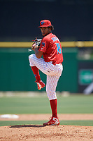 Clearwater Threshers starting pitcher Adonis Medina (18) delivers a pitch during a game against the Lakeland Flying Tigers on May 2, 2018 at Spectrum Field in Clearwater, Florida.  Clearwater defeated Lakeland 7-5.  (Mike Janes/Four Seam Images)