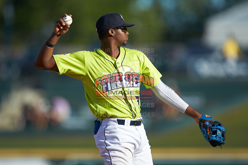 Columbia Fireflies third baseman Shervyen Newton (3) warms-up between innings of the South Atlantic League game against the Rome Braves at Segra Park on May 13, 2019 in Columbia, South Carolina. The Fireflies walked-off the Braves 2-1 in game one of a doubleheader. (Brian Westerholt/Four Seam Images)