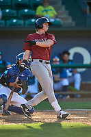 Rhett Aplin (21) of the Idaho Falls Chukars at bat against the Ogden Raptors at Lindquist Field on August 9, 2019 in Ogden, Utah. The Raptors defeated the Chukars 8-3. (Stephen Smith/Four Seam Images)