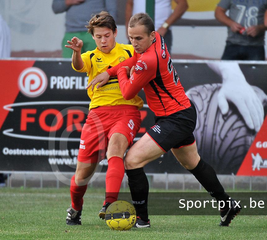 OMS Ingelmunster - Winkel Sport : duel tussen Miguel Vanderheeren (links) en Dieter Yde (rechts)<br /> foto VDB / Bart Vandenbroucke